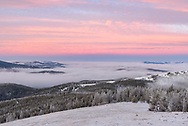 The views at sunrise were stunning from the Granite Butte fire lookout on Montana's continental divide. This is looking west where an atmospheric inversion trapped fog in the valleys.
