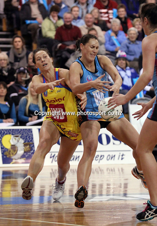 Katarina Cooper and Jodi Brown compete for the ball.<br /> ANZ Championship - Steel v Pulse, 28 May 2012, The Edgar Centre, Dunedin, New Zealand.<br /> Photo: Rob Jefferies / photosport.co.nz