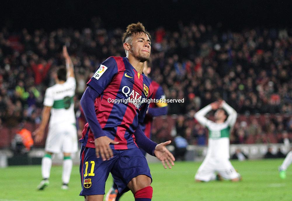 08.01.2015. Barcelona, Spain. Copa del Rey. Barcelona versus Elche CF. Neymar celebrates after scores his goal in the 34th minute