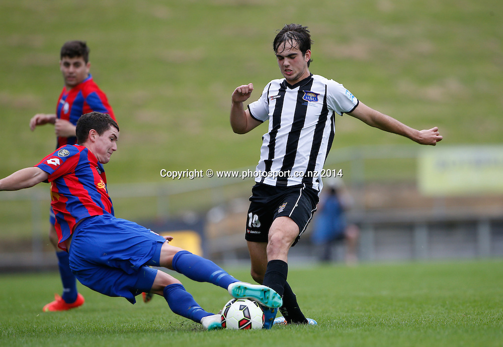HB United's Facuno Barbero beats a tackle. ASB Premiership Footbal Match. WaiBoP United v Hawkes Bay United, Rotorua International Stadium, Rotorua, New Zealand. Saturday, 20 December, 2014. Photo: John Cowpland / photosport.co.nz