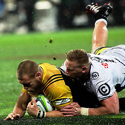 Brad Shields scores the final try during the Super Rugby quarterfinal match between the Hurricanes and Sharks at Westpac Stadium, Wellington, New Zealand on Saturday, 23 July 2016. Photo: Peter Bush / lintottphoto.co.nz