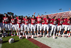 PALO ALTO, CA - OCTOBER 06: The Stanford Cardinal celebrate after the game against the Arizona Wildcats at Stanford Stadium on October 6, 2012 in Palo Alto, California. The Stanford Cardinal defeated the Arizona Wildcats 54-48 in overtime. (Photo by Jason O. Watson/Getty Images) *** Local Caption ***