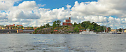 Panoramic view of medieval style castle on Kastelholmen, Stockholm, Sweden built circa 1846-8.