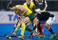 BHUBANESWAR (India) -  Hero Champions Trophy hockey men. Semifinal Germany vs Australia. Fergus Kavanagh of Australia with German Timur Oruz .Photo Koen Suyk