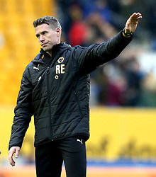 Wolverhampton Wanderers Interim Head Coach Rob Edwards looks frustrated as he waves to the fans after his side are beaten by Derby County - Mandatory by-line: Robbie Stephenson/JMP - 05/11/2016 - FOOTBALL - Molineux - Wolverhampton, England - Wolverhampton Wanderers v Derby County - Sky Bet Championship
