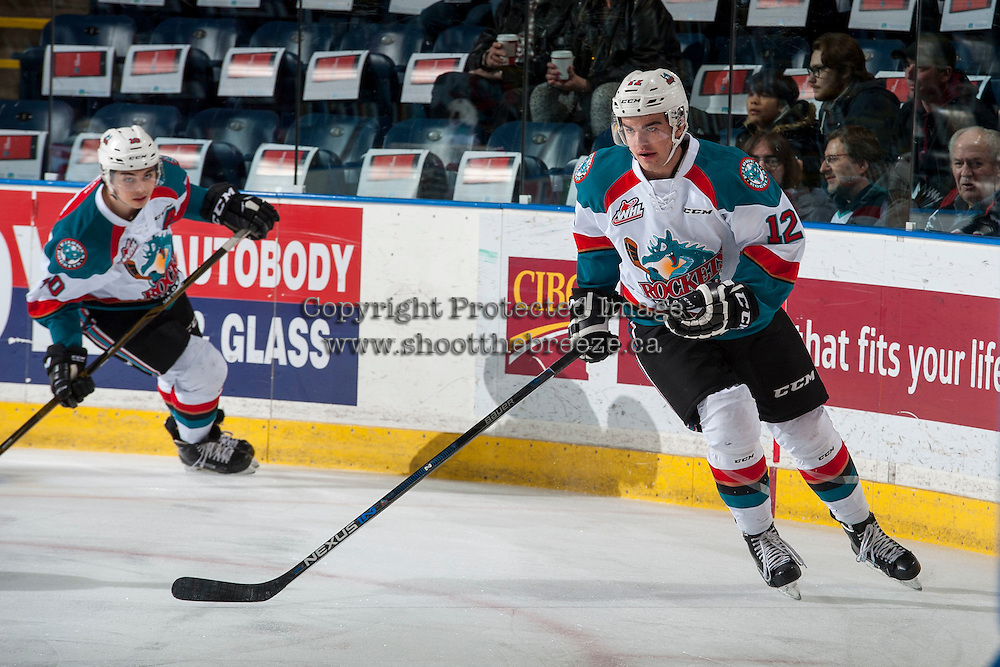 KELOWNA, CANADA - JANUARY 7: Erik Gardiner #12 of the Kelowna Rockets warms up with the puck against the Kamloops Blazers on January 7, 2017 at Prospera Place in Kelowna, British Columbia, Canada.  (Photo by Marissa Baecker/Shoot the Breeze)  *** Local Caption ***