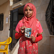 "Manar, 13, and her family arrived in Jordan two years ago, from Homs, Syria. Manar, like Halaa, just finished the tailoring program through the Mercy Corps project ""No Lost Generation."" ""I was enrolled in school when I first arrived here. They sent my brother back to Syria, so I had to leave school to help at home. I miss school. Next year I hope to return.""<br />