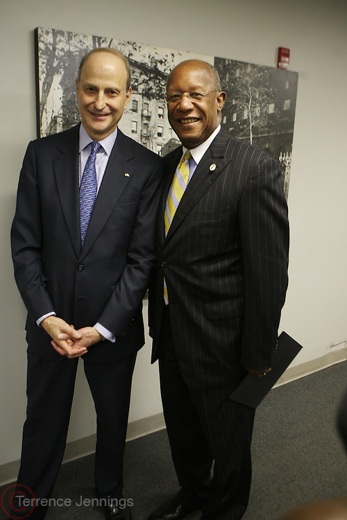 29 October 2010- Harlem, New York- l to r: Paul LeClerc, President, New York Public Library and Howard Dodson, Chief, The Schomburg Center backstage at The Acquisition of the Maya Angelou Collection of Personal Papers and Materials Documenting 40 years of the Writer's Literary Career held at the Schomburg Center on October 29, 2010 in Harlem, USA. Photo Credit: Terrence Jennings