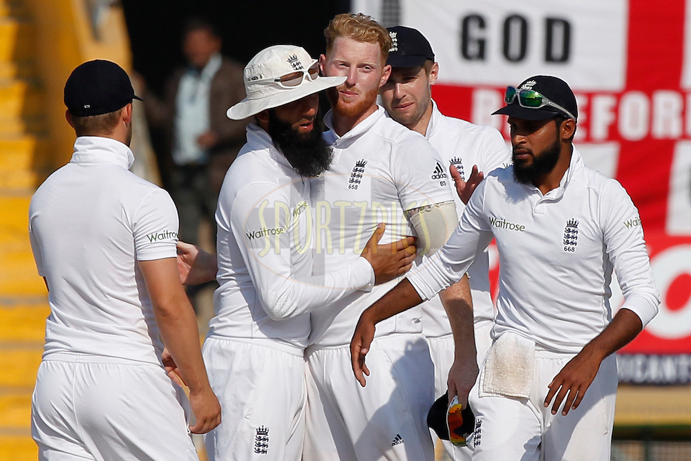 Ben Stokes of England celebrates the wicket of Umesh Yadav of India during day 3 of the third test match between India and England held at the Punjab Cricket Association IS Bindra Stadium, Mohali on the 28th November 2016.<br /> <br /> Photo by: Deepak Malik/ BCCI/ SPORTZPICS