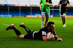 Phil Dollman of Exeter Braves scores his sides second try of the game   - Mandatory by-line: Ryan Hiscott/JMP - 01/04/2019 - RUGBY - Sandy Park Stadium - Exeter, England - Exeter Braves v Harlequins - Premiership Rugby Shield