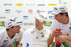 Robert Kranjec, Jurij Tepes, Jure Sinkovec at press conference of Slovenian National Ski-jumping team after the Summer Grand Prix, on October 4, 2011, in SZS, Ljubljana, Slovenia. (Photo by Vid Ponikvar / Sportida)