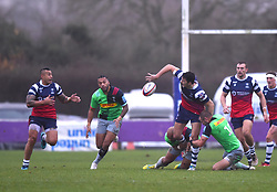 Leonardo Sarto of Bristol Bears United off loads the ball - Mandatory by-line: Paul Knight/JMP - 02/12/2018 - RUGBY - Clifton RFC - Bristol, England - Bristol Bears United v Harlequins - Premiership Rugby Shield