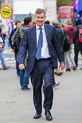 © Licensed to London News Pictures. 23/10/2019. London, UK. Former Justice Secretary DAVID GAUKE is seen outside The Houses of Parliament in Westminster. On Tuesday 22 October 2019, MPs rejected Prime Minister BORIS JOHNSON?S fast-track timetable for ratifying the Brexit deal and the government ?paused? the parliamentary process ? almost certainly ending any prospect of Brexit on 31 October.Photo credit: Dinendra Haria/LNP