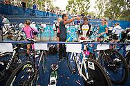 Christopher McCormack (AUS) chats with Craig Alexander (AUS) as they prepare for the race. Noosa Triathlon. 2012 Noosa Triathlon Festival. Noosa, Queensland, Australia. 04/11/2012. Photo By Lucas Wroe