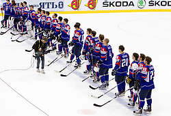 Players of Slovenia listening to the national anthem during ice-hockey match between Slovenia and Latvia of Group G in Relegation Round of IIHF 2011 World Championship Slovakia, on May 5, 2011 in Orange Arena, Bratislava, Slovakia. Slovenia defeated Latvia 5-2. (Photo By Vid Ponikvar / Sportida.com)