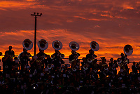 The Granite Bay Grizzlies band performs during sunset as they host the Del Oro High School Golden Eagles, Friday Sep 14, 2018.