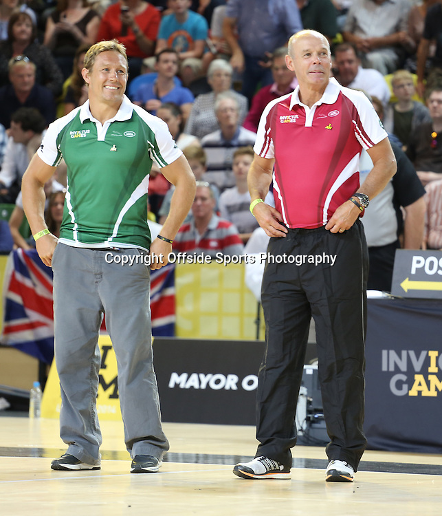 12 September 2014 - Invictus Games Day 2 - Wheelchair Rugby Celebrity Match - The Two team managers, Jonny Wilkinson and Sir clive Woodward<br /> <br /> Photo: Ryan Smyth/Offside
