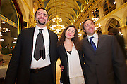 Vienna, Austria. Cocktail reception hosted by Mayor Michael Häupl at City Hall for international scientists and researchers living and working in Vienna.<br /> Three young people from Italy.