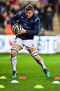 Leinster's Jordi Murphy during the pre match warm up<br /> <br /> Photographer Craig Thomas/Replay Images<br /> <br /> Guinness PRO14 Round 18 - Ospreys v Leinster - Saturday 24th March 2018 - Liberty Stadium - Swansea<br /> <br /> World Copyright © Replay Images . All rights reserved. info@replayimages.co.uk - http://replayimages.co.uk