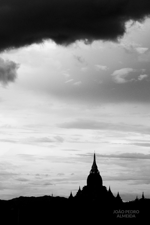 The stupas of Bagan standing above the plains.