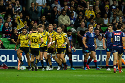March 30, 2018 - Melbourne, VIC, U.S. - MELBOURNE, AUSTRALIA - MARCH 30 : Wellington Hurricanes celebrate after a successful try during Round 7 of the Super Rugby Series between the Melbourne Rebels and the Wellington Hurricanes on March 30, 2018, at AAMI Park in Melbourne, Australia. (Photo by Jason Heidrich/Icon Sportswire) (Credit Image: © Jason Heidrich/Icon SMI via ZUMA Press)