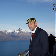 Levan Datunashvili (left) and team mate Vakhtang Maisuradze enjoy the view during the Georgia Rugby Teams team official Civic welcome and cap presentation at Skyline.  Queenstown, New Zealand, 6th September 2011. Photo Tim Clayton..