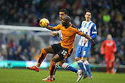 Wolverhampton Wanderers striker Benik Afobe (10) during the Sky Bet Championship match between Brighton and Hove Albion and Wolverhampton Wanderers at the American Express Community Stadium, Brighton and Hove, England on 1 January 2016.