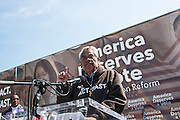 DC: Washington, D.C.: Eliseo Medina speaks during the America Deserves a Vote on Immigration Reform Rally on the National Mall in Washington DC on April 9, 2014. The rally is asking for immigration reform to pass through the House of Representatives. (Photo by: Kris Connor)