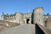 Entrance to Stirling Castle, with current buildings dating to 15th and 16th centuries, on Castle Hill, in Stirling, Scotland. The castle was an important royal palace for centuries and has seen many coronations and sieges. The castle is listed as a scheduled ancient monument and is run by Historic Environment Scotland. Picture by Manuel Cohen