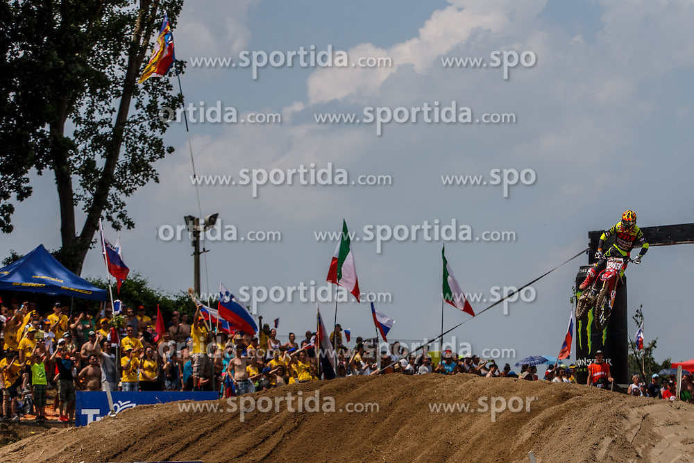 Tim Gajser of Slovenija #243 and fans during MXGP race for MXGP Championship in Mantova, Italy on 26th of June, 2016 in Italy Photo by Grega Valancic / Sportida