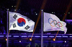 A general view of the South Korea and Olympic flags during the Opening Ceremony of the PyeongChang 2018 Winter Olympic Games at the PyeongChang Olympic Stadium in South Korea.