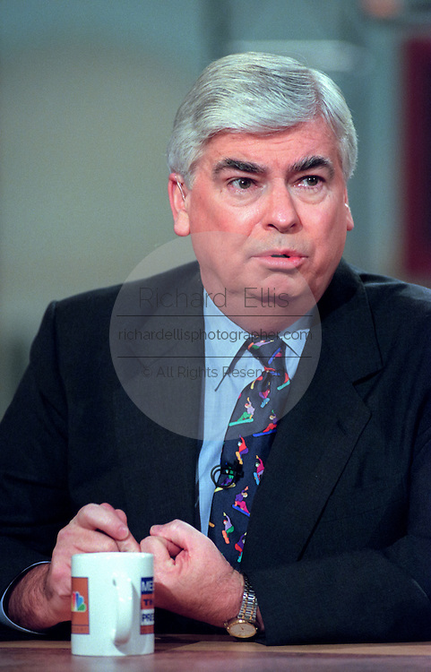 U.S. Senator Christopher Dodd discusses the possible Senate trial of President Clinton following impeachment during NBC's Meet the Press December 20, 1998 in Washington, DC.