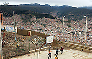 El Alto, Bolivia.<br />The highland city overlooking La Paz. Bolivia, despite vast natural resources, is Latin America's poorest nation. Graffitti in support of socialist president Evo Morales and his MAS party adorn the walls of these slums overlooking La Paz.
