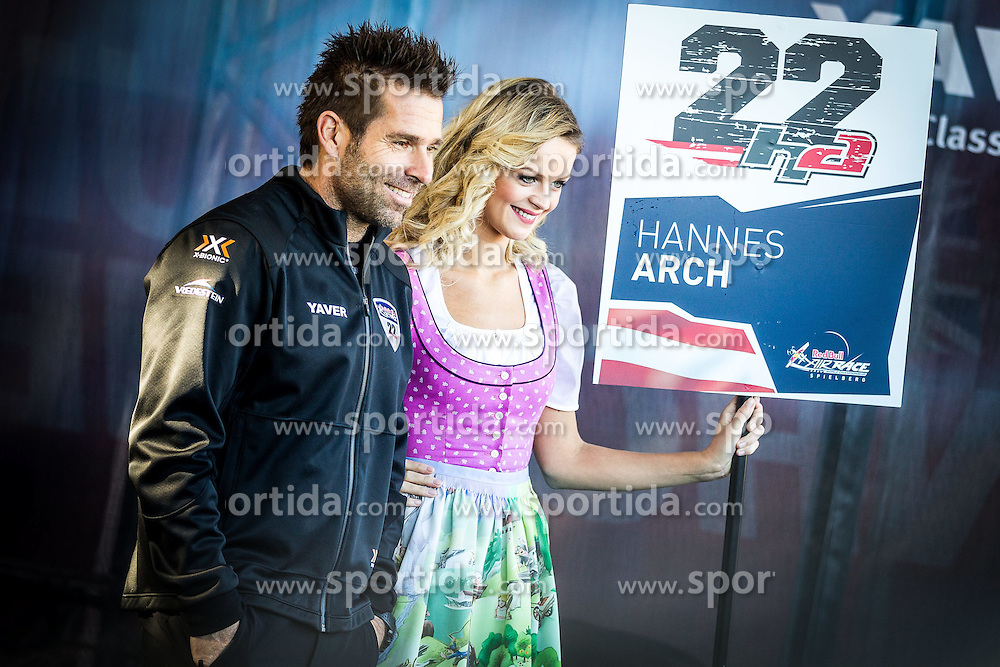 26.10.2014, Red Bull Ring, Spielberg, AUT, Red Bull Air Race, Renntag, im Bild Hannes Arch, (AUT) mit Grid Girl // during the Red Bull Air Race Championships 2014 at the Red Bull Ring in Spielberg, Austria, 2014/10/26, EXPA Pictures © 2014, PhotoCredit: EXPA/ M.Kuhnke