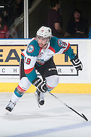 KELOWNA, CANADA - MAY 13:Dillon Dube #19 of Kelowna Rockets skates against the Brandon Wheat Kings  on May 13, 2015 during game 4 of the WHL final series at Prospera Place in Kelowna, British Columbia, Canada.  (Photo by Marissa Baecker/Shoot the Breeze)  *** Local Caption *** Dillon Dube;