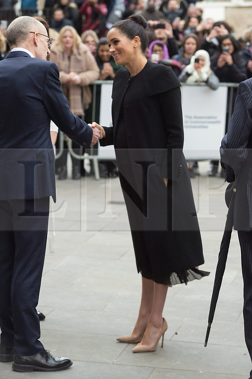 © Licensed to London News Pictures. 31/01/2019. London, UK. Meghan, Duchess of Sussex visits the Association of Commonwealth Universities (ACU)January to meet with students and academics from across the ACU's network. This will be Her Royal Highness's first official visit with the ACU in her new role as Patron of the international organisation which is dedicated to building a better world through higher education. Photo credit: Ray Tang/LNP