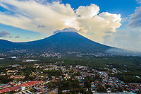 Volcán de Agua near Antigua, Guatemala on Wednesday, May 3, 2018. Aerial photo taken with drone.