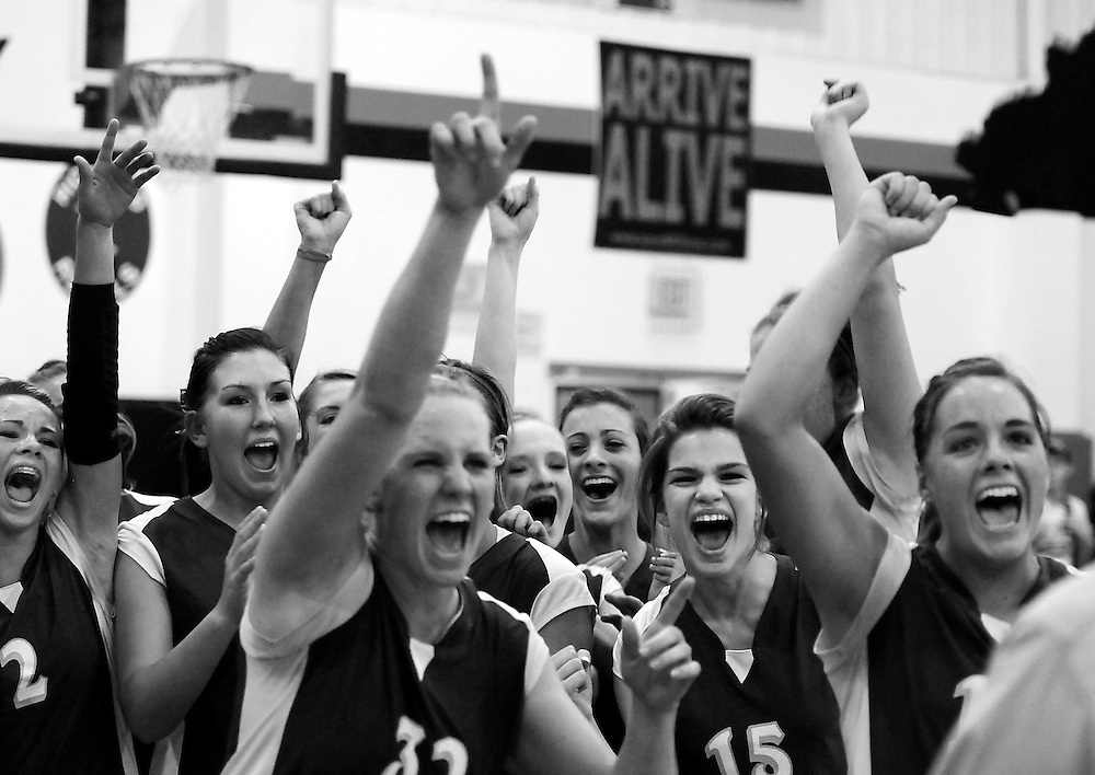 Leopold volleyball players celebrate their 2-0 victory over Zalma during the  Class 1 District 3 title match at Advance on Tuesday, Oct. 26, 2010.