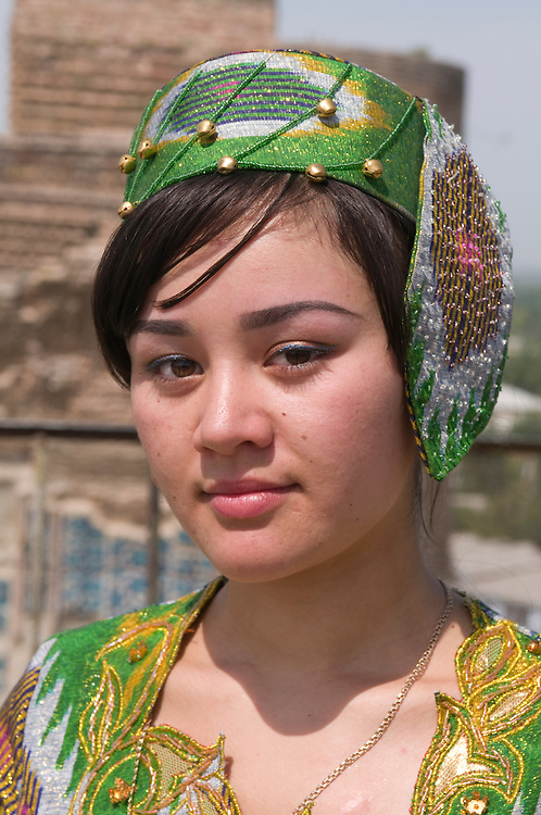 Portrait of pretty, young woman, Shakrisabz, Uzbekistan
