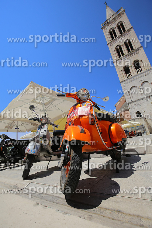 12.06.2015, Zadar, CRO, World Vespa Days 2015, im Bild Fans of the popular Vespa scooter expose the front of the church of St. Donatus, and for tomorrow's scheduled parade through the city of several thousand fans. // during the World Vespa Days 2015 at Zadar, Croatia on 2015/06/12. EXPA Pictures &copy; 2015, PhotoCredit: EXPA/ Pixsell/ Filip Brala<br /> <br /> *****ATTENTION - for AUT, SLO, SUI, SWE, ITA, FRA only*****