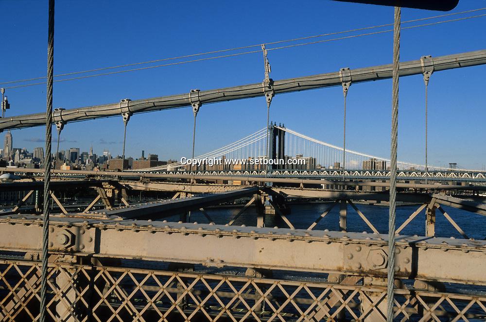 New York. Manhattan bridge view from Brooklyn bridge  New york  /  le pont de Manhattan vu depuis le pont de Brooklyn  New york