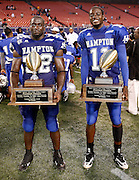 "Hampton's ""Defensive Player on the Game"" Justin Durant (52) and ""Offensive Player of the Game"" Princeton Shapperd (11) pose after winning their awards during the 2006 New York Urban League Classic between Hampton and Morgan State at Giants Stadium in East Rutherford, New Jersey.  Hampton won 26-7.  September 23, 2006  (Photo by Mark W. Sutton)"