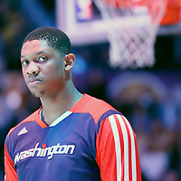 21 March 2014: Washington Wizards center Kevin Seraphin (13) is seen during the national anthem prior to the Washington Wizards 117-107 victory over the Los Angeles Lakers at the Staples Center, Los Angeles, California, USA.