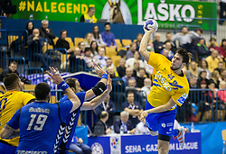 Daniel Dujshebaev Dovichebaeva of Celje during handball match between RK Celje Pivovarna Lasko and RK Zagreb PPD in Round #13 of SEHA Gazprom League 2017/18, on February 4, 2018 in Arena Zlatorog, Celje, Slovenia. Photo by Vid Ponikvar / Sportida