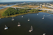 Aerial view of sailboats moored in the Ashley River Charleston, South Carolina.