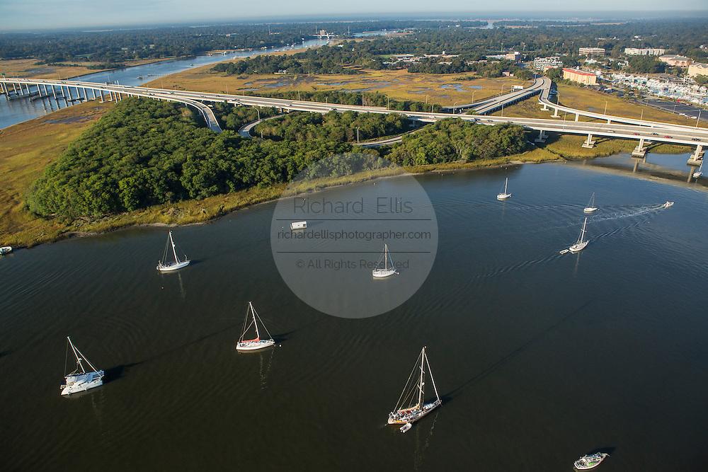 Aerial view of sailboats moored in the Ashley River Charleston, South Carolina.