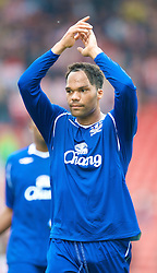 STOKE, ENGLAND - Sunday, September 14, 2008: Everton's Joleon Lescott celebrates his side's 3-2 victory over Stoke City during the Premiership match at the Britannia Stadium. (Photo by David Rawcliffe/Propaganda)