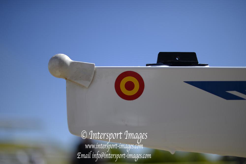 Seville. Andalusia. SPAIN.   General View. GV. Bow Ball, Guadalquivir River.2013 FISA European Rowing Championship.  Guadalquivir River.  Thursday   30/05/2013  [Mandatory Credit. Peter Spurrier/Intersport] Equipment,