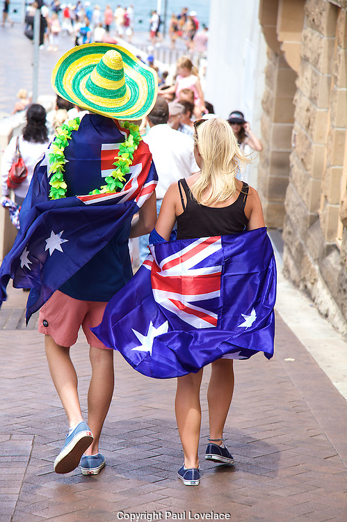 Australians celebrate Australia Day at The Rocks, Sydney, Australia..26th Jan 2013.Aussies enjoying Australia Day