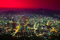 Twilight view of Central Seoul, from the Seoul Tower, Namsan Mountain, Seoul, South Korea